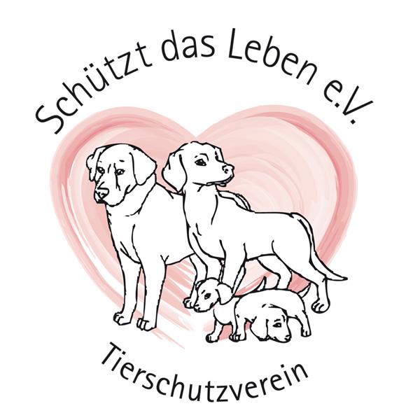 Logo des Tierschutzvereines »Schützt das Leben e. V.« Das Logo zeigt vier gezeichnete Hunde, welche vor einem großen rosa Herz abgebildet sind.